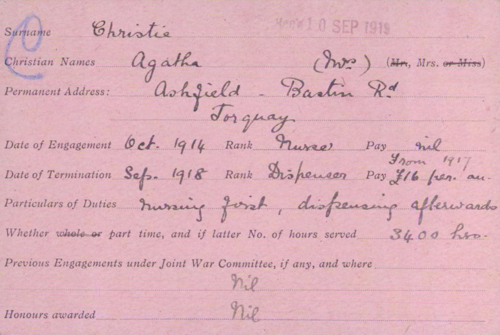 Agatha Christie's VAD card, original scan.