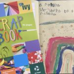 A picture of a COVID-19 scrapbook with a child's drawing of a rainbow