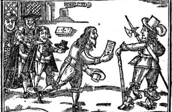 LIne cut drawing of a man presenting a petition, 1648
